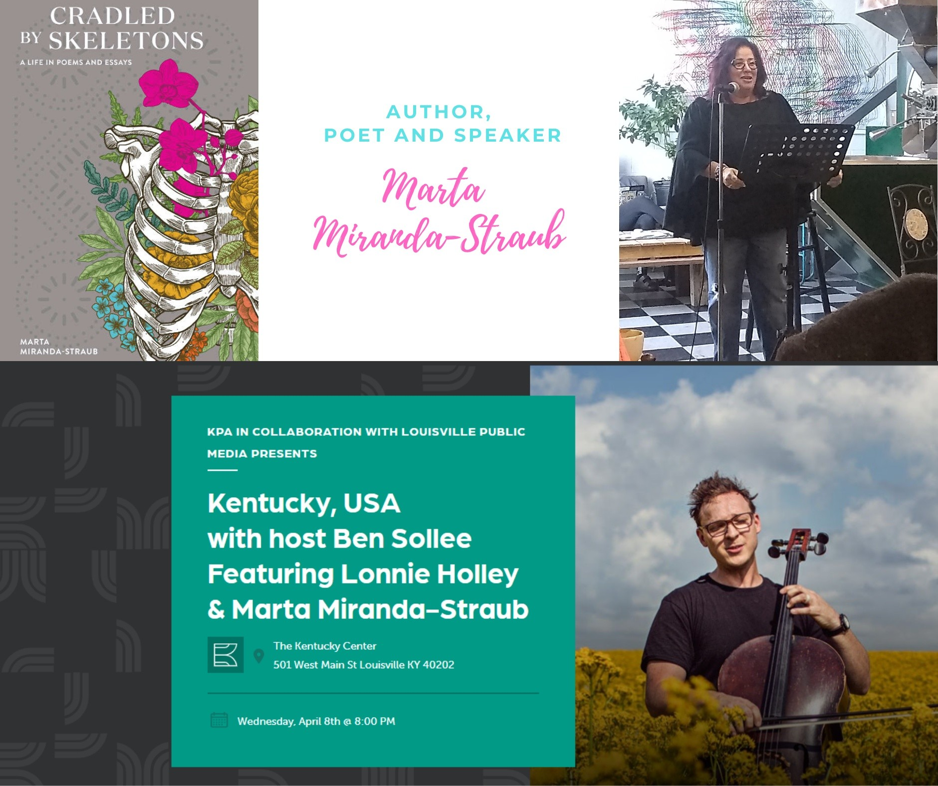 Kentucky, USA with host Ben Sollee, featuring Lonnie Holley and Marta Miranda-Straub, at the Kentucky Center, April 8, 2020 at 8 pm